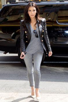 Kim Kardashian in grey.  Street style.