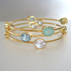 Three 18K Gold Vermeil Bangles with Blue Quartz, Sea foam Chalcedony & Rock Crystal Bracelet Set