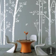 Leafy Trees vinyl self-adhesive wall sticker set, Zazous