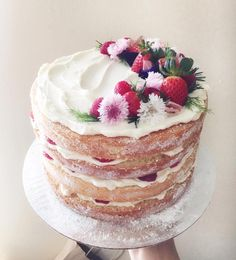 Strawberry and raspberry naked cake for a baby shower #matchboxkitchen #matchboxkitchencakes