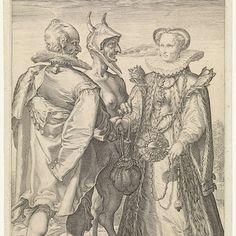 Huwelijk uit rijkdom door de duivel gesloten, Jan Saenredam, after Hendrick Goltzius, 1575 - 1607 - Rijksmuseum