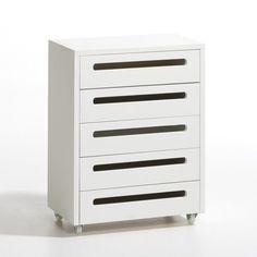 Cette commode 5 tiroirs, montée sur roulettes, offre un espace de rangement fonctionnel et peut se glisser sous le bureau Duplex.STRUCTURE :- Structure pin massif, brut à peindre ou laqué blanc, finition nitrocellulosique.- Fond et tiroirs en MDF.DESCRIPTIF :- 5 tiroirs.- Roulettes plastique.DIMENSIONS :- Dim. totales : L.48 x P.28 x H.63 cm. - Dim. int. d'un tiroir : L.40,2 x P.24 x H.7,5 cm. Livrée montée.