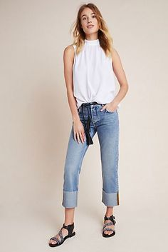 Pilcro High-Rise Straight Jeans by and the Letterpress in Blue Size: Women's Denim at Anthropologie Women's Straight Jeans, Evening Attire, Weekend Wear, Jeans For Sale, Fashion Outfits, Fashion Trends, Women's Fashion, Spring Outfits, Autumn Fashion