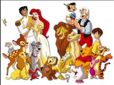 Lots of different Disney characters from lots of different Disney Movies