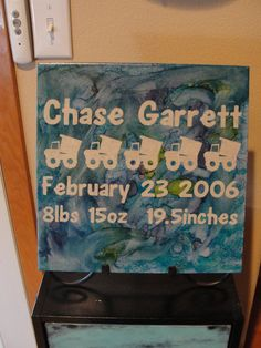 Birth Annoucement 12x12 Decorative Tile by scrapnkitty on Etsy, $20.00
