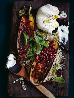 roasted eggplant with pearl barley, labne + pomegranate