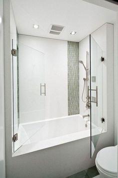 39 Magnificient Small Bathroom Tub Shower Remodeling Ideas Bathtub Shower Combo, Bathroom Tub Shower, Bath Tub, Bath Room, Tub Shower Combination, Glass Shower, Soaker Tub With Shower, Frameless Shower, Vanity Bathroom