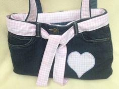 Denim Handbag made from Jeans by GorgeousAgaindotcom on Etsy, £24.50