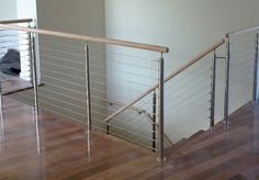 Give your staircase or balcony a modern, casual look by installing stainless steel wire balustrade in Perth. Wire Balustrade, Divider, Stairs, Room, Furniture, Design, Home Decor, Bedroom, Stairway