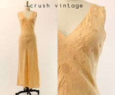 40s Silk Nightgown M / 1940s Bias Cut Nightgown / by CrushVintage