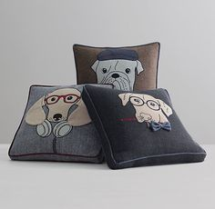 Appliquéd Downtown Dog Pillow Cover & Insert I Restoration Hardware