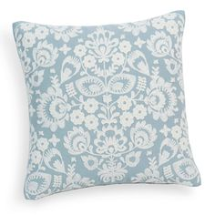 Coussin brodé en coton bleu/blanc 45 x 45 cm PÔLE | Maisons du Monde