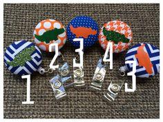 Cute alligator badge pulls in orange and blue! Etsy.com/shop/bjoneshandmade