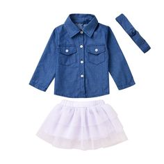 MiyaSudy Kid Girls Jeans Long Sleeve Tops Blouse+Skirt+Headband Clothes Outfits. Kid Girls Jeans Tops,Net Yarn Skirt and Headband Clothes Outfits. Style:Casual,Formal,Party,Shool. Trendy and Comfortable for Any Season and Occasion. Perfect for Daily Wear, Easter, School or Oher Special Ocassions. Package:1 PC Long Blouse and 1 PC Skirt and 1 PC Headband.