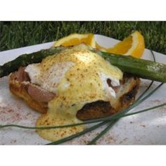Honeymoon Eggs | Buttery croissants replace standard English muffins in this elegant egg breakfast dish. Asparagus spears add a fresh and flavorful crunch. Breakfast Dishes, Breakfast Time, Breakfast Casserole, Breakfast Recipes, Breakfast Specials, Breakfast Ideas, Brunch Ideas, Egg Recipes, Muffin Recipes