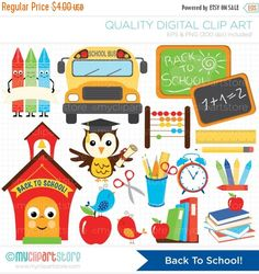 50% OFF SALE Clipart  Back To School / by MyClipArtStore on Etsy