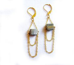 Raw Pyrite Earrings Golden Starlight Moon Landscapes by AlinaandT, $23.00