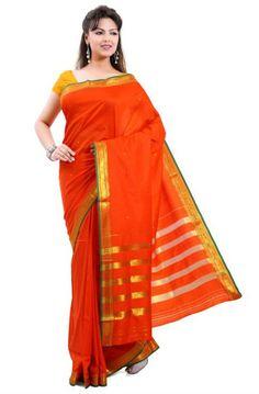 Saree Market: Pure Mysore Silk Saree Orange Colour