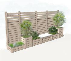 Bildergebnis für Pflanzgefäß mit Gitter - Helena Almeida - New Ideas Garden Privacy, Backyard Privacy, Backyard Garden Design, Backyard Fences, Backyard Landscaping, Diy Fence, Fence Ideas, Diy Garden, Fence Design