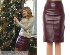 Nashville: Season 3 Episode 9 Rayna's Burgundy Leather Skirt