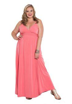 Sealed With A Kiss Designs Plus Size Sabrina Maxi Dress - Size 3X, Darkpeach