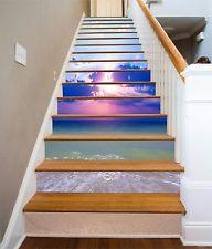 Bule Ocean 012 Stair Risers Decoration Photo Mural Vinyl Decal Wallpaper CA Escalier Art, Escalier Design, Stairway Art, Stairway To Heaven, Cloud Pattern, Decoration Photo, Painted Stairs, Autumn Painting, Staircase Design