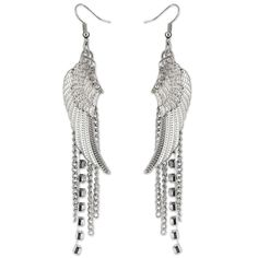 Silver Strike Dangling Rhinestone Wings and Chain Earrings