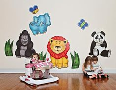 Large Jungle Animals (Panda, Lion, Elephant, Gorilla) - 3D Wall Murals for Baby Nursery and Kids Rooms - Made in USA Colorful Childhood LLC http://www.amazon.com/dp/9854339750/ref=cm_sw_r_pi_dp_b19Uub0DNYXMB