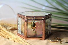 Beige wedding ring holder with shell pattern, Summer beach wedding ring box, Unique glass ring box for engagement, Elegant Summer wedding