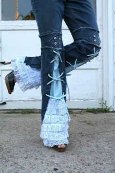 Recycled lace ruffle & embellished jeans!  http://www.etsy.com/shop/chelsiebelles