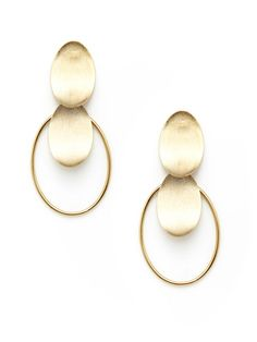 Rivka Friedman Gold Oval Disc Hoop Drop Earrings 38 on gilt