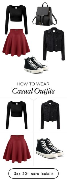 """Casual Crimson"" by ladylace457 on Polyvore featuring Converse"