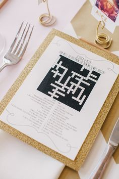 Your friends have: Opted for the common mad libs word game to entertain their wedding guests. We prefer: Adding a fun crossword activity to your guests' place settings instead. Photo by Riverland Studios .