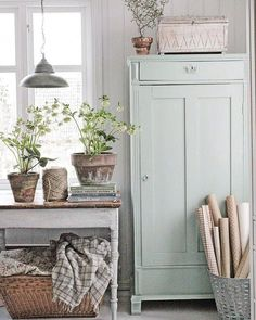 Painted Linen Cabinet - painted with Fusion Mineral Paint in the color 'Inglenook' - via Vibeke Design Rustic Farmhouse, Farmhouse Style, Swedish Farmhouse, Cottage Farmhouse, Cottage Chic, Swedish Decor, Swedish Cottage, Scandinavian Style, Swedish Style