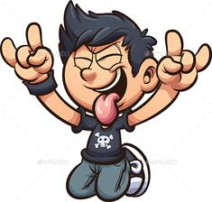 Buy By Rocking Out by memoangeles on GraphicRiver. Cartoon kid rocking out on his knees with tongue out clip art. Vector illustration with simple gradients. Best Cartoon Characters, Doodle Characters, Cartoon Kids, Cartoon Art, Cartoon Drawings, Cool Drawings, Character Concept, Character Design, Rick And Morty Poster
