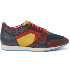feacf8867 Burberry Prorsum The Field Panelled Textured-Leather and Mesh Sneakers  Burberry Prorsum