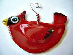 Fused Glass Red Cardinal Christmas Ornament by janesglassart, $15.00