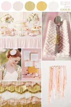 Blush + pink. Love the napkin pattern and cutlery tied with gold ties. These were my wedding colors!!!!!