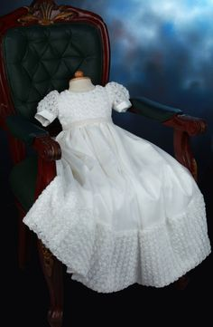 Off White Rosette and Tulle Christening Gown with by Caremour