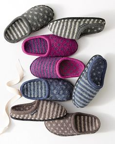Haflinger Shirley Dot-and-Stripe Slippers