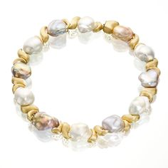 Magnificent Multi Color Baroque Souffle Pearl & Gold Nugget Necklace - Yvel