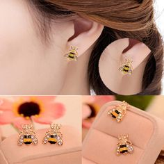 NEW Lovely Jewelry Enamel Rhinestone Bumble Bee Crystal Earrings Animal Ear Stud #UnbrandedGenenic #Stud
