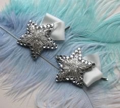 Rhinestone Star Hair Clips With Ivory Silk Bows