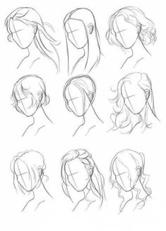 48 Ideas Animal Art Drawing Hair Reference For 2019 Art Drawings Sketches Simple, Pencil Art Drawings, Hair Drawings, Girl Hair Drawing, Anime Hair Drawing, Drawing Face Shapes, Drawing Anime Bodies, Indie Drawings, Anime Girl Drawings