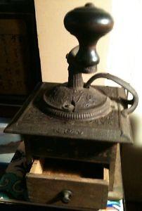wood and metal coffee grinder