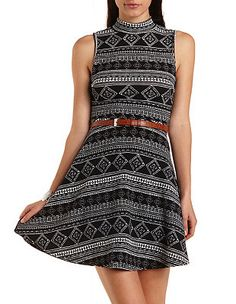 Mock Neck Tribal Print Skater Dress: Charlotte Russe