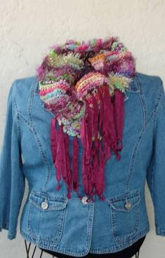 Items similar to Gypsy Scarf women/ARTSY thick& thin hand painted yarn mix/boho scarf/knit scarf/bright colors/short winter scarf/unique scarf/art scarf on Etsy Scarf Knit, Ribbon Yarn, Thick Yarn, Thick And Thin, Color Shorts, Types Of Yarn, Womens Scarves, Bright Colors, Blue Denim