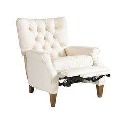 You wouldn't know it by looking at it, but this elegant club chair actually reclines. Enjoy hours of comfort in its wide, tufted back and deep seating.