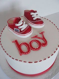 Specialty Cakes - Little Red Vans - baby shower cake Baby Cakes, Baby Shower Cakes, Gateau Baby Shower, Baby Boy Shower, Pretty Cakes, Cute Cakes, Beautiful Cakes, Amazing Cakes, Fondant Cakes