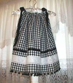 Black Gingham Pillowcase Dress for Babies and Toddlers - Childrens Sewing - Little Girl Outfits, Little Girl Dresses, Kids Outfits, Girls Dresses, Pillowcase Dress Pattern, Dress Sewing Patterns, Pillowcase Dresses, Skirt Patterns, Blouse Patterns